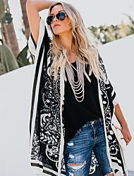 abordables -Femme Plage Basique Printemps été Longue Manteau, Géométrique Noir & rouge Noir & Blanc Sans col Sans Manches Polyester Mosaïque Noir / Rouge M / L / XL
