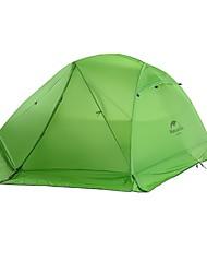 זול -Naturehike 2 אנשים משפחה אוהל קמפינג חיצוני עמיד מוגן מגשם שכבה כפולה עמוד קמפינג אוהל >3000 mm ל מחנאות / צעידות / טיולי מערות לטייל ניילון ג'ל סיליקה 215*60+135+60*110 cm