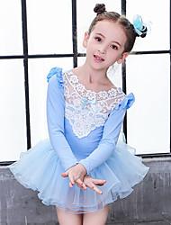 お買い得  -子供用ダンスウェア / バレエ ドレス 女の子 訓練 / 性能 コットン リボン / レース / コンビ 長袖 ナチュラルウエスト ドレス