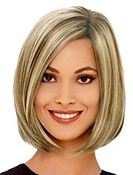 cheap -Synthetic Wig / Bangs kinky Straight Style Bob Capless Wig Golden Black / Gold Synthetic Hair 14 inch Women's Fashionable Design / Smooth / Women Golden Wig Short Natural Wigs
