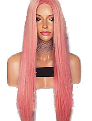 cheap -Synthetic Lace Front Wig Straight Style Middle Part Lace Front Wig Pink Pink Synthetic Hair 24 inch Women's Adjustable / Heat Resistant / Women Pink Wig Long Natural Wigs