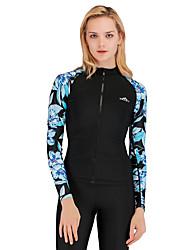 abordables -SBART Mujer Protección para Erupciones Transpirable Secado rápido Cómodo Chinlon Terileno Manga Larga Bañadores Ropa de playa Top Retazos Cremallera delantera Natación Surfing Submarinismo