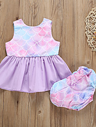 hesapli -Bebek Genç Kız Temel Desen Desen Kolsuz Normal Normal Pamuklu / Polyester Kıyafet Seti Doğal Pembe