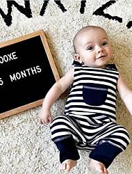 お買い得  -赤ちゃん 男の子 活発的 / ベーシック ソリッド / チェック 縞柄 / プリント ノースリーブ コットン ワンピース ネイビーブルー