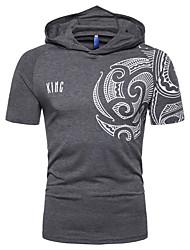 abordables -Hombre Estampado Camiseta Gráfico Gris Oscuro XL