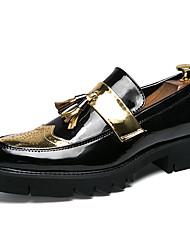 رخيصةأون -رجالي أحذية جلدية جلد للربيع والصيف كاجوال المتسكعون وزلة الإضافات متنفس ألوان متناوبة ذهبي / أسود / فضي