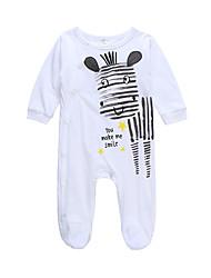 お買い得  -赤ちゃん 男の子 活発的 プリント 長袖 コットン ワンピース ホワイト