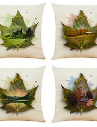 hesapli -4 set yaratıcı akçaağaç görünümü desen keten kare dekoratif atmak yastık kılıfları kanepe yastık kapakları 18x18