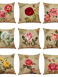 hesapli -9 set çiçek bisiklet keten yastık örtüsü ev ofis kanepe kare yastık kılıfı dekoratif yastık yastık kılıfı kapakları (18 * 18 inç)