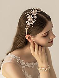 お買い得  -合金 ヘッドバンド / ヘッドドレス とともに クリスタル装飾 / フラワー / メタル 1枚 結婚式 / パーティー/フォーマル かぶと