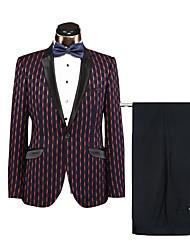 levne -8# Proužky Standard Polyster Oblek - Otevřené Jednořadé s jedním knoflíkem