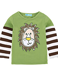 tanie -Dzieci / Brzdąc Dla chłopców Aktywny / Podstawowy Solidne kolory / Nadruk Nadruk Długi rękaw Bawełna / Poliester Bluzka Zielony