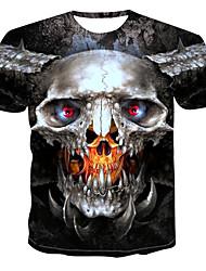 billiga -Tryck, Färgblock / 3D / Dödskalle T-shirt Herr Mörkgrå XXXXL