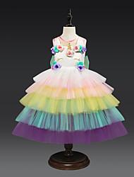 preiswerte -Kinder Mädchen Aktiv / Süß Patchwork Mehrlagig Ärmellos Knielang Kleid Weiß
