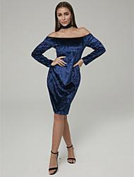 povoljno -Kroj uz tijelo Uz vrat Do koljena Baršun Koktel zabava Haljina s Gumbi po TS Couture®