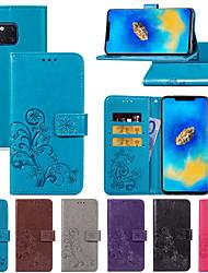 Недорогие -Кейс для Назначение Huawei Mate 10 / Mate 10 pro / Mate 10 lite Бумажник для карт / со стендом / Магнитный Чехол Цветы Твердый Кожа PU