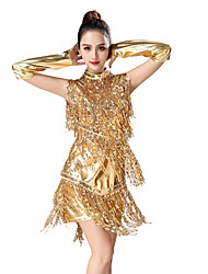cheap -Latin Dance Dresses / Nightclub Jumpsuits Women's Training / Performance Elastane / Sequined / Terylene Glitter / Side Draping / Tassel Dress / Sleeves / Neckwear