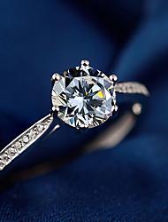 Недорогие -Жен. Белый Цирконий Кольцо Кольцо на кончик пальца Открытое кольцо Платиновое покрытие Искусственный бриллиант Сердце Стиль Простой европейский корейский Элегантный стиль Модные кольца Бижутерия
