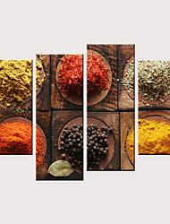 Недорогие -С картинкой Роликовые холсты - Продукты питания Модерн Modern 4 панели Репродукции