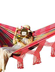 Недорогие -Туристический гамак На открытом воздухе Эластичный Складной холст для 1 человек Походы Командные виды спорта С кисточками - Розовый с красным Травянисто-зелёный 200*200*100 cm