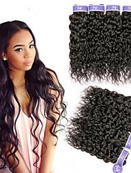 Недорогие -6 Связок Перуанские волосы Волнистые Не подвергавшиеся окрашиванию 100% Remy Hair Weave Bundles Человека ткет Волосы Пучок волос One Pack Solution 8-28 дюймовый Естественный цвет
