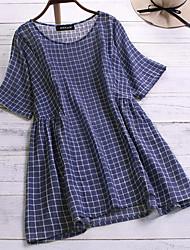 billige -Skjorte Dame - Geometrisk Blå XXXL