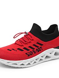 baratos -Homens Sapatos Confortáveis Tecido elástico Primavera Verão Esportivo / Colegial Tênis Corrida Respirável Preto / Vermelho / Preto / Vermelho