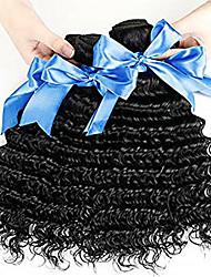 Недорогие -4 Связки Малазийские волосы Крупные кудри Необработанные натуральные волосы Человека ткет Волосы Пучок волос Накладки из натуральных волос 8-28 дюймовый Естественный цвет Ткет человеческих волос