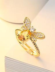 Недорогие -Жен. Белый Кольцо Кольцо на кончик пальца Открытое кольцо Платиновое покрытие Позолоченное розовым золотом Искусственный бриллиант Пчела Стиль Простой европейский корейский Элегантный стиль