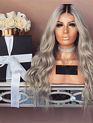 cheap -Synthetic Wig Deep Wave Style Middle Part Capless Wig Gray Grey Synthetic Hair 28 inch Women's Color Gradient Gray Wig Long Natural Wigs