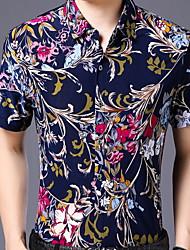 cheap -Men's Shirt - Floral Print Purple L