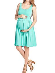 tanie -Damskie Podstawowy Elegancja T-shirt Tunika Sukienka - Solidne kolory, Z marszczeniami Nad kolano