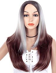 ราคาถูก -วิกผมสังเคราะห์ ผมหยิกตรง สไตล์ ส่วนด้านข้าง ไม่มีฝาครอบ ผมปลอม Gray Gray สังเคราะห์ 26 inch สำหรับผู้หญิง การออกแบบทางด้านแฟชั่น / Smooth / ผู้หญิง Gray วิก ยาว วิกธรรมชาติ