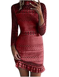 povoljno -Žene Elegantno Korice Haljina - Čipka, Jednobojni Iznad koljena