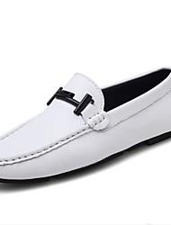 رخيصةأون -رجالي أحذية الراحة جلد للربيع والصيف المتسكعون وزلة الإضافات أبيض / أسود