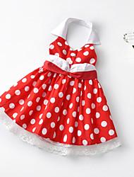 hesapli -Toddler Genç Kız Vintage / Tatlı Yuvarlak Noktalı / Kırk Yama Dantel / Arkasız / Kırk Yama Kolsuz Diz-boyu Pamuklu / Polyester Elbise Beyaz