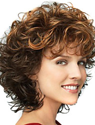 cheap -Ombre Hair Weaves / Hair Bulk / Synthetic Wig / Bangs Curly / Deep Wave Style Free Part Capless Wig Brown Brown / Burgundy Synthetic Hair 12 inch Women's Fashionable Design / Women / Synthetic Brown