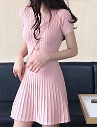 halpa -naisten edellä polven ohut vaippa mekko v kaulan punastava vaaleanpunainen musta beige s m l