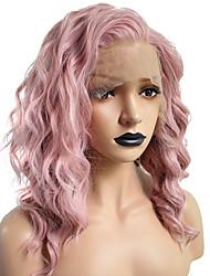 halpa -Synteettiset pitsireunan peruukit Kihara / Laineita Hathaway Tyyli Bob-leikkaus Lace Front Peruukki Vaaleanpunainen Pinkki Synteettiset hiukset 14 inch Naisten Pehmeä / Naisten / Paras laatu