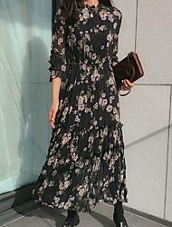 abordables -Femme Maxi Balançoire Robe Blanc Noir Gris Taille unique Manches Longues