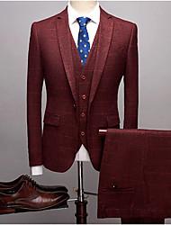 preiswerte -Burgunderrot / Marineblau / Hell Gray Gestreift Schlanke Passform Polyester Anzug - Fallendes Revers Einreiher - 1 Knopf
