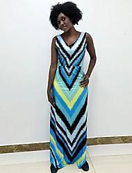 billige -kvinders maxi slanke kappe kjolebælte blå s m l