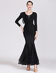 저렴한 -볼륨 댄스 드레스 여성용 트레이닝 / 성능 쉬폰 / 우유 섬유 루시 주름 장식 / 크리스탈 / 라인석 긴 소매 높음 드레스
