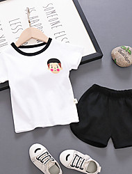 abordables -bébé Garçon Basique / Chic de Rue Imprimé Imprimé Manches Courtes Normal Normal Coton Ensemble de Vêtements Blanc