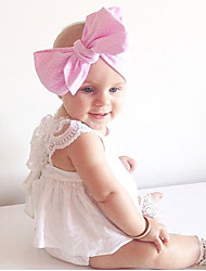 abordables -bébé Fille Actif / Basique Couleur Pleine Dentelle / Lacet / Mosaïque Sans Manches Mi-long Coton Robe Blanc / Bébé