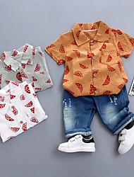 abordables -Bebé Chico Básico Estampado Manga Corta Regular Regular Algodón / Poliéster Conjunto de Ropa Marrón