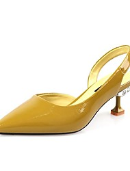 ราคาถูก -สำหรับผู้หญิง หนัง ฤดูร้อน ไม่เป็นทางการ รองเท้าส้นสูง ส้น Stiletto Pointed Toe หินประกาย สีดำ / สีเหลือง / Almond / พรรคและเย็น
