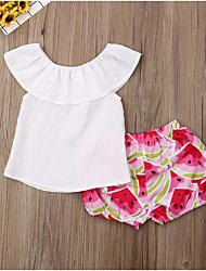 abordables -bébé Fille Basique Fruit Imprimé Sans Manches Normal Coton Ensemble de Vêtements Blanc / Bébé