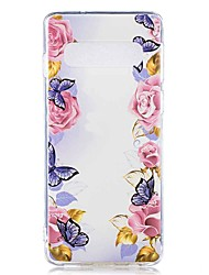 halpa -Etui Käyttötarkoitus Samsung Galaxy Galaxy S10 Plus / Galaxy S10 E Läpinäkyvä / Kuvio Takakuori Perhonen / Kukka Pehmeä TPU varten S9 / S9 Plus / S8 Plus