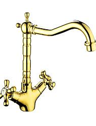 Недорогие -Ванная раковина кран / Смеситель - Вращающийся Античная медь / Золотой / Золотая роза Другое Две ручки одно отверстиеBath Taps